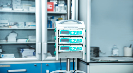 intravenously: complex of medical equipment at work Stock Photo