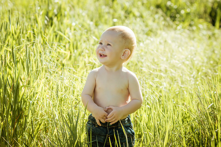 little boy on the lawn, a child for a walk outdoors.