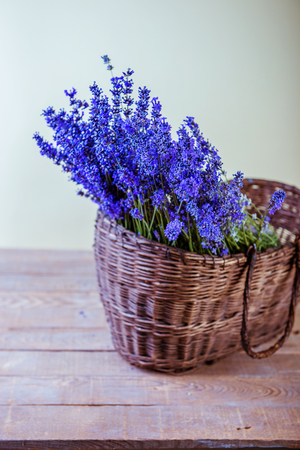 Basket with lavender studio photo
