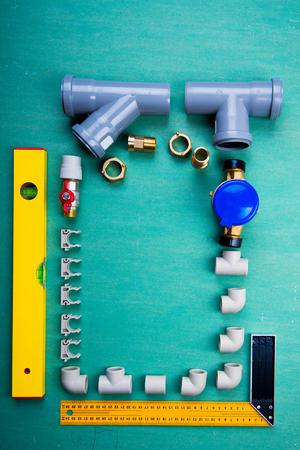 water meter and plumbing tools, polypropylene, metal-plastic and PVC pipes Standard-Bild