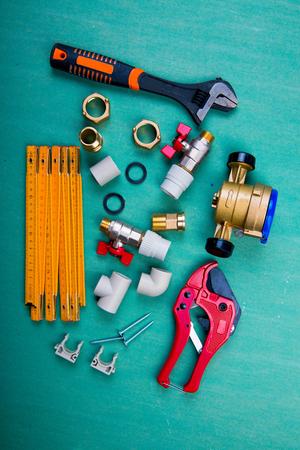water meter and plumbing tools, polypropylene, metal-plastic and PVC pipes Stok Fotoğraf