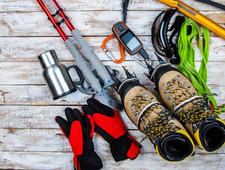 climbing equipment on a wooden background Stok Fotoğraf
