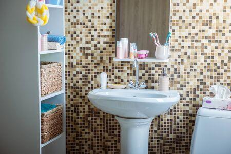 bathroom with toilet and sink Reklamní fotografie - 133387011