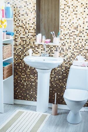 bathroom with toilet and sink Reklamní fotografie - 133387016