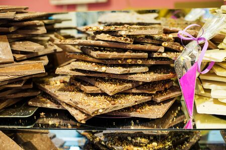 Market, handmade chocolate with nuts