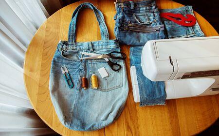denim bag, handmade, sewing accessories 免版税图像
