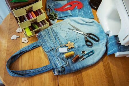 denim bag, handmade, sewing accessories Standard-Bild