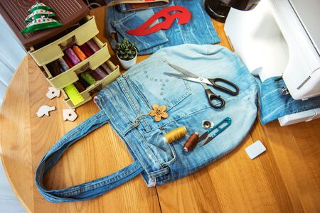 denim bag, handmade, sewing accessories Standard-Bild