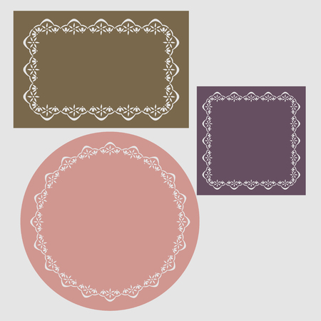 reiteration: Patterned frames in the form of a circle, square, rectangle.