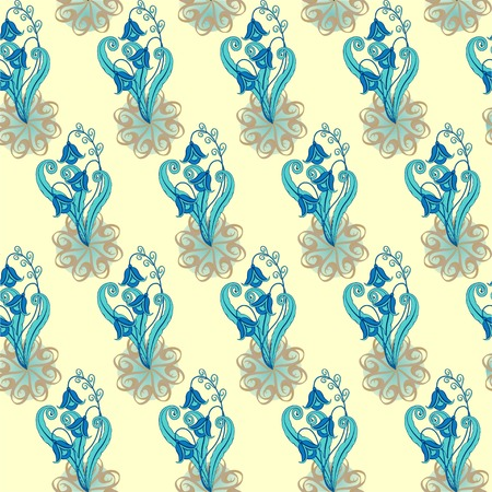reiteration: Floral ornament of lovely blue flowers on a light background