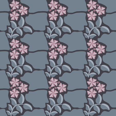 Floral pattern of pink flowers and stone Illustration