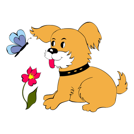 Cute puppy looks at the butterfly