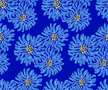 reiteration: Pattern of blue flowers on a dark blue background Illustration