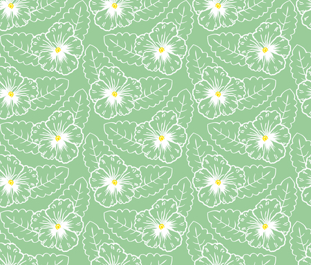 reiteration: Pattern of flowers pansies on a green background