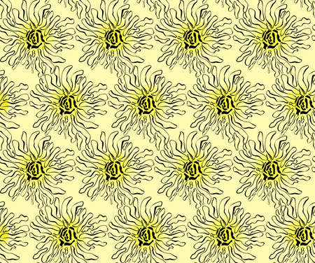 reiteration: Pattern of abstract flowers on a yellow background Illustration