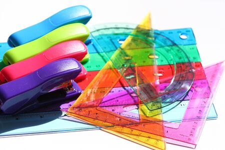 plactic: colored plastic staples and rulers