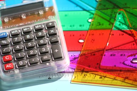 plactic: colored plastic rulers and calculater Stock Photo