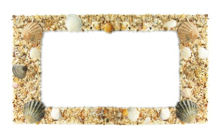 Frame photos of shells, isolated on a white background photo