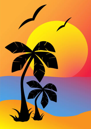 beach sunset: Silhouettes of palm trees against the setting sun Illustration