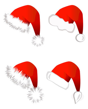 Set of Santa Claus hats isolated on white background Stock Vector - 7622454