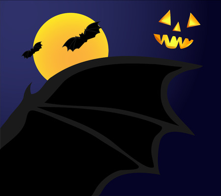 frighten: Scary Halloween night. The bat on background with moon and dark sky