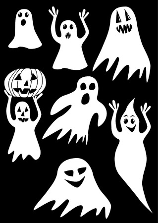 The collection of ghosts on a black background Vector