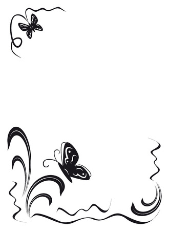 angular: butterfly and floral ornament, black on the white background, illustration, JPG-version