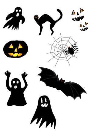 Collection of images to celebrate Halloween. The bat; wings; cat, ghost, spider, web, pumpkin on a white background   Vector