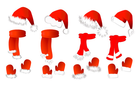 mittens: Cristmas set: red santa claus hat, scarf and mittens on the white background. Vector illustration
