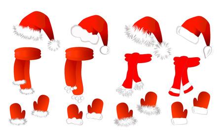 CRISTMAS set: rode Kerstman hoed, sjaal en wanten op de witte achtergrond. Vectorillustratie