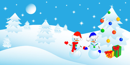 couple of snowmen in the winter woods near a Christmas tree with gifts.  Vector
