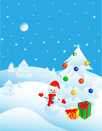 Snowman in the winter forest near a Christmas tree with gifts. Vector illustration Vector