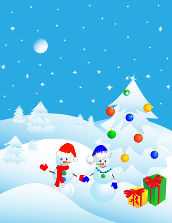 couple of snowmen in the winter woods near a Christmas tree with gifts. Vector illustration Vector