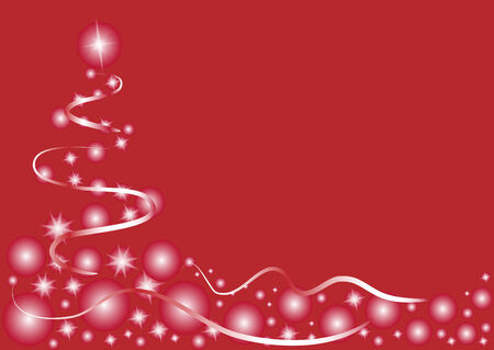 christmas postcard: abstract christmas tree on red background. Christmas postcard. illustration Illustration