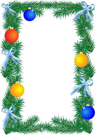 Christmas border on the white background.  illustration.  Vector