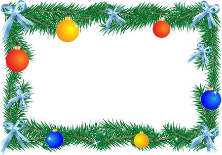 Christmas border on the white background (horizontal). illustration. Illusztráció