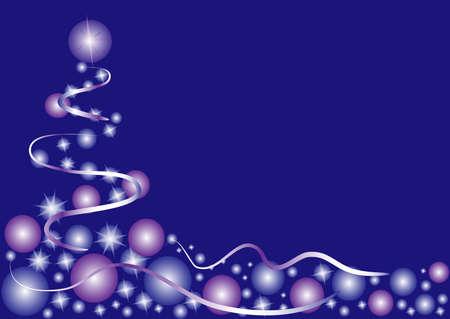 postcard background: abstract christmas tree on blue background. Christmas postcard. Vector illustration Illustration