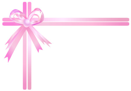 pink border: Pink ribbon isolated on a white background. illustration. Illustration
