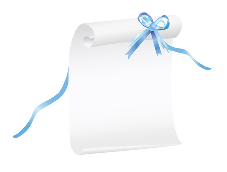 Scroll of white paper with a blue ribbon, suitable for a background. illustration Vector