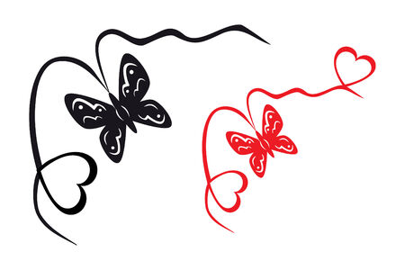 Abstract black and white butterfly and hearts Stock Vector - 8577046