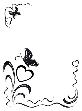 decorate element: butterfly, hearts and floral ornament, black on the white background, illustration Illustration