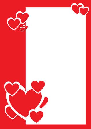 february 14th: Red and white hearts, decorative border. Vector illustration