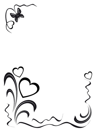 butterfly, hearts and floral ornament, black on the white background, illustration