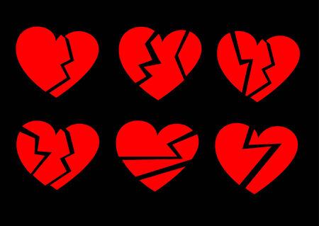 La colección de corazones rotos rojo sobre un fondo negro. Ilustración vectorial