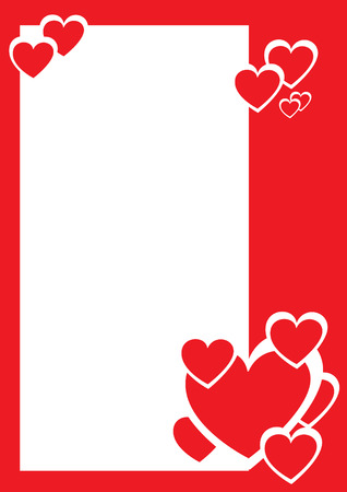 Red and white hearts, decorative border. Vector illustration Vector