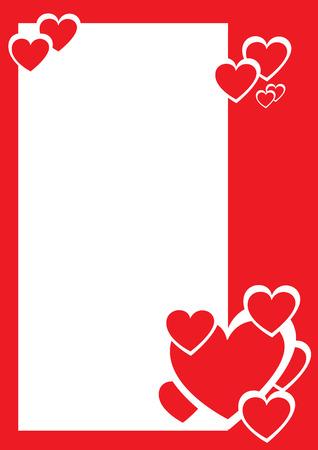 the valentine: Red and white hearts, decorative border. Vector illustration
