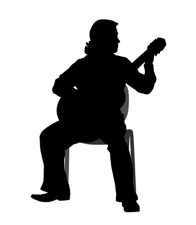 Man playing the guitar - silhouette Vector