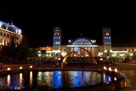 kharkov: Night view of terminal South Station. Kharkov - city of EURO-2012, Ukraine Stock Photo