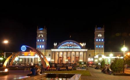 kharkov: Night view of terminal South Station. Kharkiv - city of EURO-2012, Ukraine