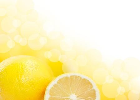 Beautiful Lemons border isolated on white background